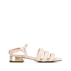 Sandały ze skóry croco na złotym obcasie, beżowy, 92-D-750-0-35, Zdjęcie 1