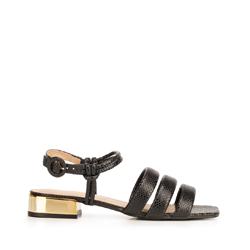 Sandały ze skóry croco na złotym obcasie, czarny, 92-D-750-1-40, Zdjęcie 1