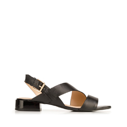 Damskie sandały skórzane z kwadratowym noskiem, czarny, 92-D-751-1-35, Zdjęcie 1