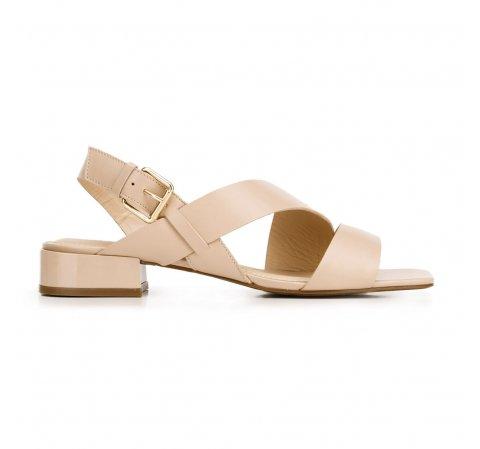 Damskie sandały skórzane z kwadratowym noskiem, beżowy, 92-D-751-1-38, Zdjęcie 1