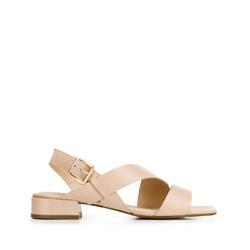 Damskie sandały skórzane z kwadratowym noskiem, beżowy, 92-D-751-9-39, Zdjęcie 1