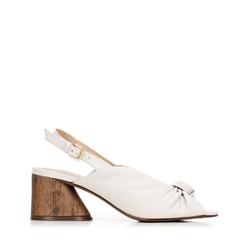Sandały skórzane na słupku z imitacji drewna, kremowy, 92-D-753-0-35, Zdjęcie 1