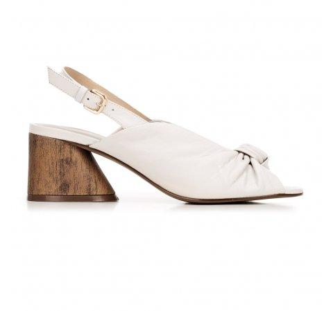 Sandały skórzane na słupku z imitacji drewna, kremowy, 92-D-753-1-35, Zdjęcie 1