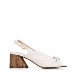 Damskie sandały skórzane na słupku z imitacji drewna, kremowy, 92-D-753-0-37, Zdjęcie 1