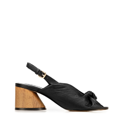 Sandały skórzane na słupku z imitacji drewna, czarny, 92-D-753-1-38, Zdjęcie 1