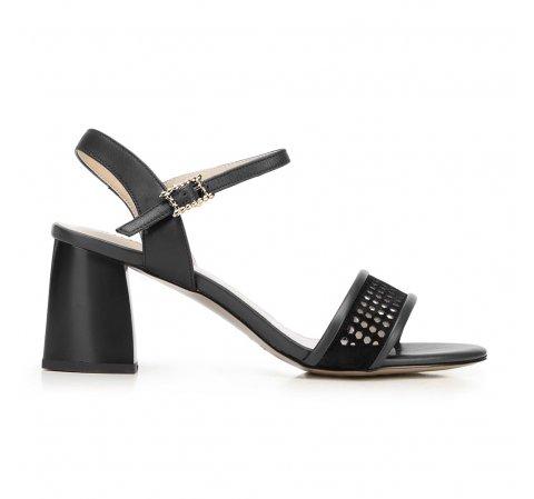 Sandały zamszowe na słupku ażurowe, czarny, 92-D-959-1-36, Zdjęcie 1