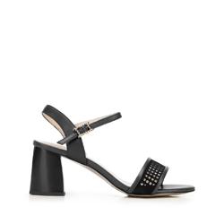 Sandały zamszowe na słupku ażurowe, czarny, 92-D-959-1-38, Zdjęcie 1
