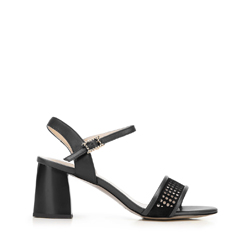 Damskie sandały zamszowe na słupku ażurowe, czarny, 92-D-959-1-39, Zdjęcie 1