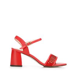 Sandały zamszowe na słupku ażurowe, czerwony, 92-D-959-3-35, Zdjęcie 1