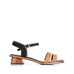 Damskie sandały zamszowe na trapezowym słupku, czarno - brązowy, 92-D-960-1-39, Zdjęcie 1