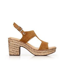 Damskie sandały z nubuku na koturnie, camelowy, 92-D-961-4-36, Zdjęcie 1