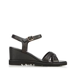 Damskie sandały skórzane na koturnie, czarny, 92-D-962-1-40, Zdjęcie 1
