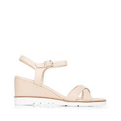 Damskie sandały skórzane na koturnie, beżowy, 92-D-962-9-40, Zdjęcie 1