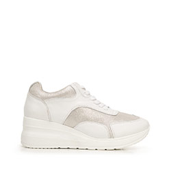 Damskie sneakersy ze skóry na platformie, biało - srebrny, 92-D-964-1-37, Zdjęcie 1