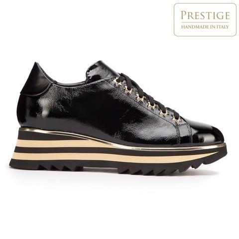 Damskie sneakersy skórzane z lampasami na podeszwie, czarno - złoty, 93-D-108-1-37_5, Zdjęcie 1