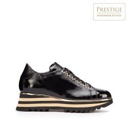 Damskie sneakersy skórzane z lampasami na podeszwie, czarno - złoty, 93-D-108-1-37, Zdjęcie 1
