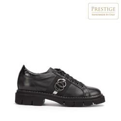 Damskie sneakersy skórzane z łańcuszkiem, czarny, 93-D-109-1-35, Zdjęcie 1