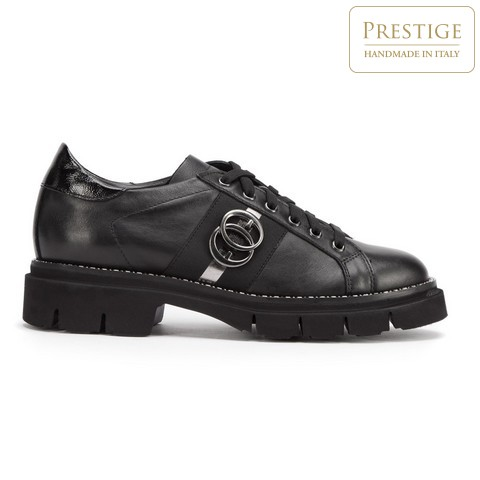 Damskie sneakersy skórzane z łańcuszkiem, czarny, 93-D-109-1-36, Zdjęcie 1