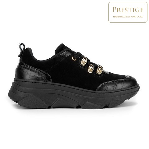 Damskie sneakersy ze skóry zamszowej i croco, czarno - złoty, 93-D-301-1-41, Zdjęcie 1