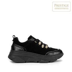 Damskie sneakersy ze skóry zamszowej i croco, czarno - złoty, 93-D-301-1-38, Zdjęcie 1