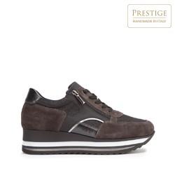 Damskie sneakersy zamszowe z suwakiem, brązowy, 93-D-651-8-37, Zdjęcie 1