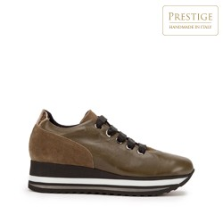 Damskie sneakersy z trzech rodzajów skóry na platformie, khaki, 93-D-652-Z-38, Zdjęcie 1