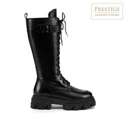 Women's leather combat boots, black, 93-D-803-1-38, Photo 1