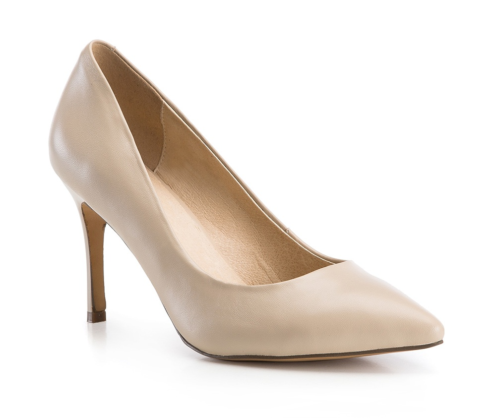 Обувь женскаяТуфли женские класcические. Изготовленные по технологии \Hand Made\ и выполнены полностью из натуральной итальянской кожи наивысшего качества. Подошва сделана из качественного синтетического материала. Сочетание классических высоких каблуков каждый раз по разному создает уникальный и модный  образ.<br><br>секс: женщина<br>Цвет: бежевый<br>Размер EU: 40<br>материал:: Натуральная кожа<br>примерная высота каблука (см):: 9