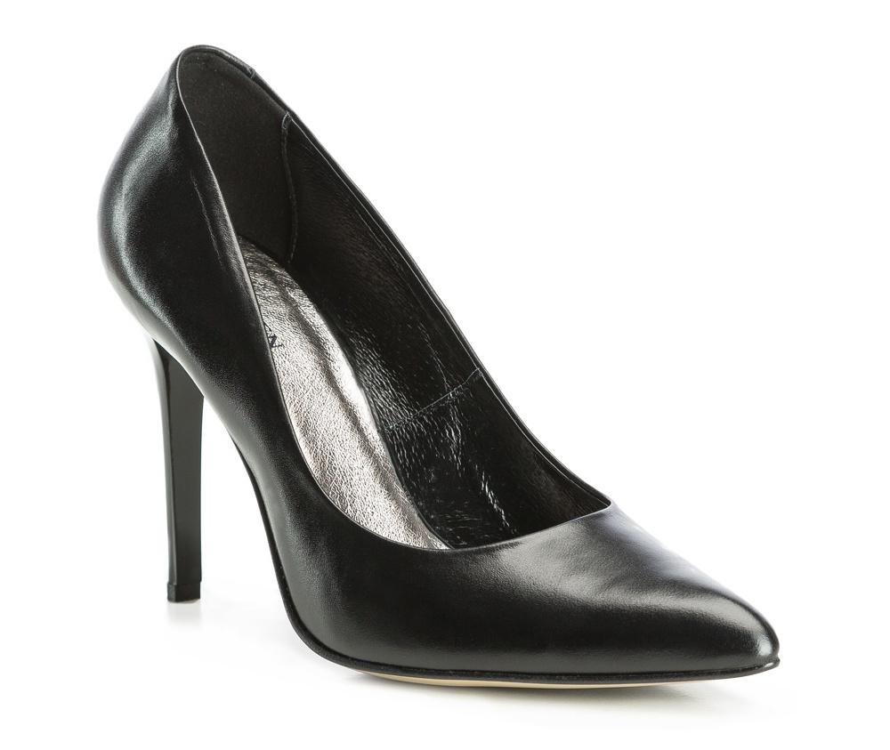 Обувь женскаяЖенские туфли на шпильке выполненны по технологии hand made из лучшей итальянской кожи. Подошва сделана  из синтетического материала. Отличное дополнение к элегантныму гардеробу.             кожа натуральная          кожа натуральная          материал синтетический<br><br>секс: женщина<br>Цвет: черный<br>Размер EU: 35<br>материал:: Натуральная кожа<br>примерная высота каблука (см):: 10