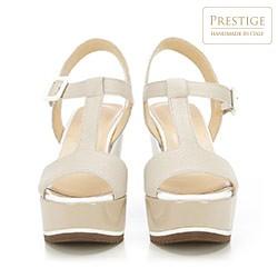 Damskie sandały ze skóry na koturnie, jasny beż, 84-D-100-8-40, Zdjęcie 1