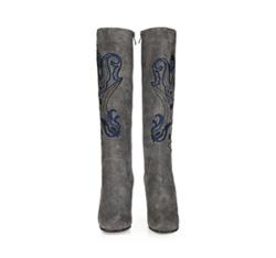 Women's knee high boots, grey, 85-D-918-8-36, Photo 1
