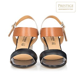Damskie sandały z kolorowych skór, granatowo - brązowy, 86-D-403-7-39, Zdjęcie 1