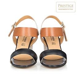 Damskie sandały z kolorowych skór, granatowo - brązowy, 86-D-403-7-40, Zdjęcie 1