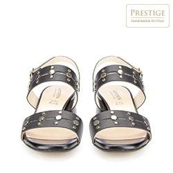 Damskie sandały skórzane z nitami, czarny, 86-D-404-1-36, Zdjęcie 1