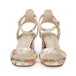 Damskie sandały ze skóry w kwiaty, multikolor, 86-D-556-X-40, Zdjęcie 1