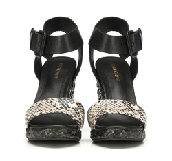 Damskie sandały skórzane z grubym paskiem, czarny, 86-D-653-1-36, Zdjęcie 1