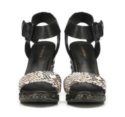 Damskie sandały skórzane z grubym paskiem, czarny, 86-D-653-1-37, Zdjęcie 1