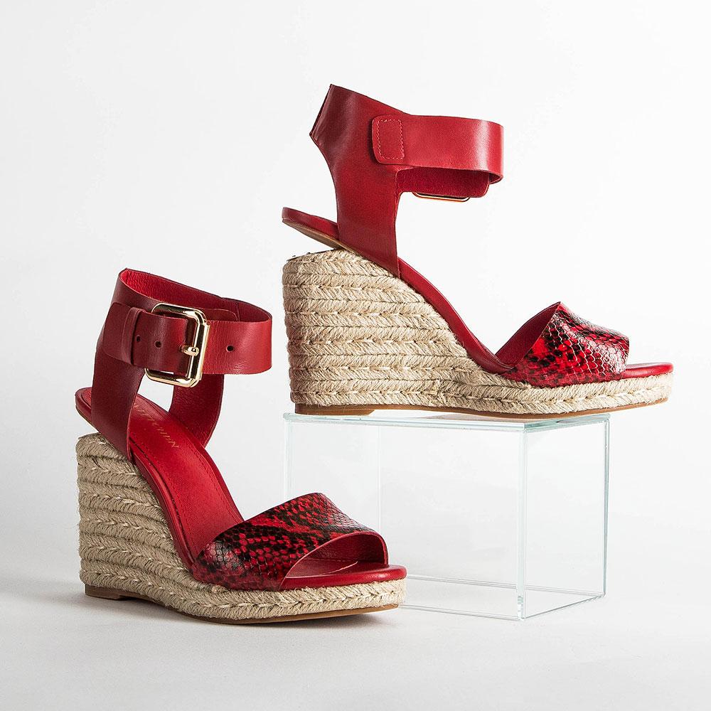 Damskie sandały skórzane z grubym paskiem, czerwony, 86-D-653-2-35, Zdjęcie 1