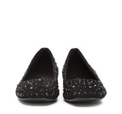 Baleriny nubukowe z kryształkami, czarny, 86-D-656-1-40, Zdjęcie 1