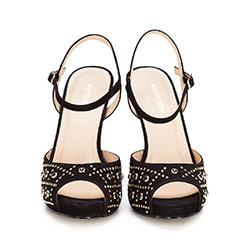 Damskie sandały z zamszu z różnorodnymi nitami, czarny, 86-D-754-1-37, Zdjęcie 1