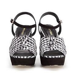 Damskie sandały z nubuku w kartę vichy, czarno - biały, 86-D-759-1-35, Zdjęcie 1