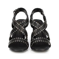Damskie sandały skórzane z ażurowymi paskami, czarny, 86-D-900-1-35, Zdjęcie 1