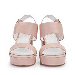 Damskie sandały z grubych pasków skóry, beżowo - różowy, 86-D-904-9-40, Zdjęcie 1