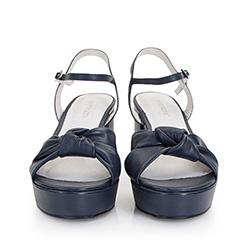 Damskie sandały skórzane z węzłem, granatowy, 86-D-907-7-36, Zdjęcie 1