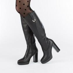 Women's knee high boots, black, 87-D-205-1-38, Photo 1