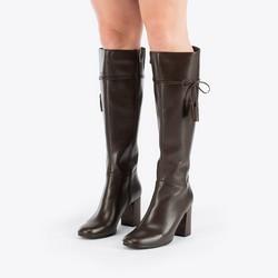 Women's knee high boots, dark brown, 87-D-902-4-35, Photo 1