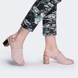 Damskie sandały z plecionego zamszu zabudowane, pudrowy róż, 88-D-105-P-36, Zdjęcie 1