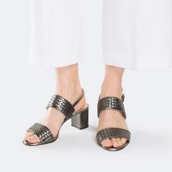 Damskie sandały ze skóry metaliczne, szary, 88-D-106-8-35, Zdjęcie 1