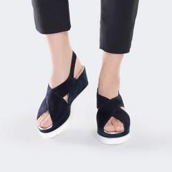 Damskie sandały zamszowe na jasnej podeszwie, granatowy, 88-D-109-7-38, Zdjęcie 1