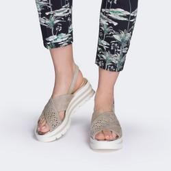 Damskie sandały zamszowe z ażurowym paskiem, szaro - biały, 88-D-110-9-41, Zdjęcie 1